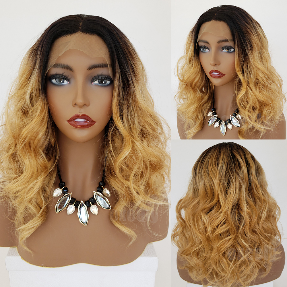Body Wave Hair Black Color Synthetic Lace Front Wigs Natural Hairline Baby Hair Synthetic Lace Front Wigs for Beauty Women1