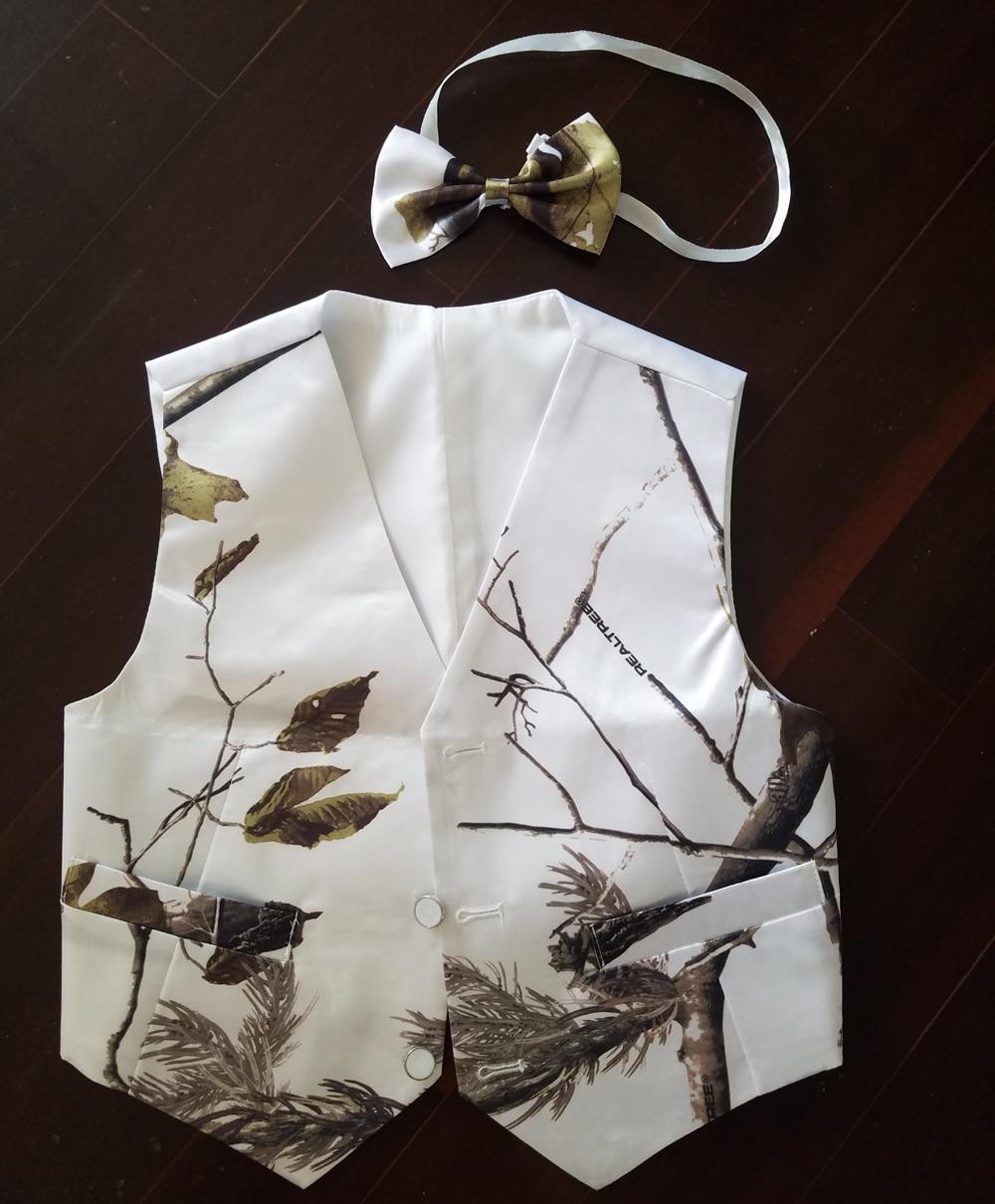 White Realtree Kid Tuxedo Vests Camouflage Formal Wedding Vest For Boy Custom Make Free Shipping