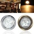 Metal Round Surface Mounted Home Kitchen Shelf Under Cupboard Sideboard Wardrobe Cabinet Halogen Light Warm White DC12V
