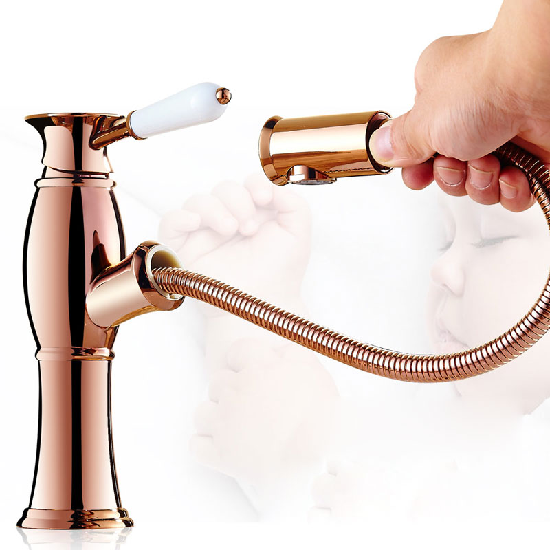 basin faucet of hot and cold water tap Europe pull out type telescopic hand washing basin stage bibcock of heightening shampoo black basin faucet europe type restoring ancient ways is the stage basin faucet of the lacquer that bake hot and cold water tap