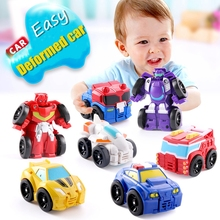 Automatic Deformation Robot mini Car one Flash deformation Car People Children's Day Gift pocket small Toy Car Model People patron saint deformation toy machine car people fit the fire rescue team