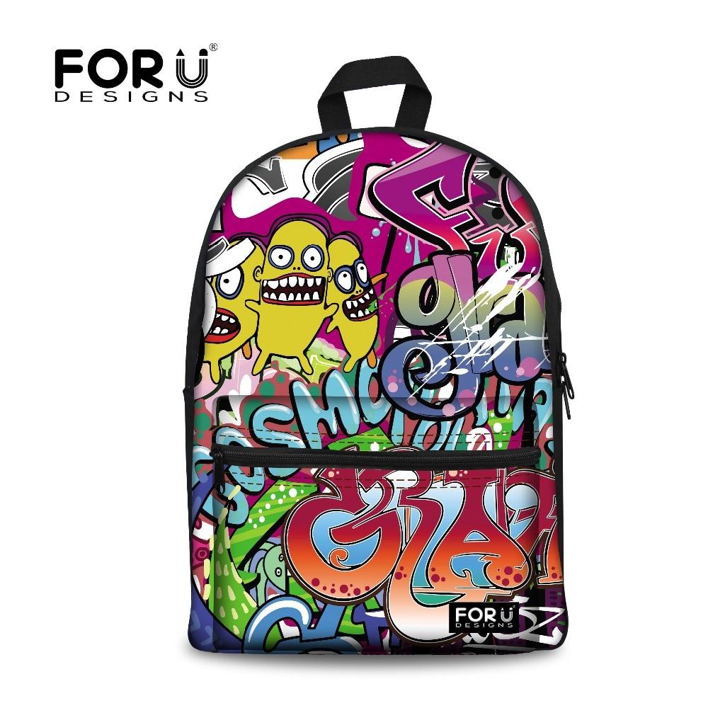 цена fashion harajuku graffiti backpack backbag hip hop bag students backpacks female school bags for teenage girls rucksack mochila