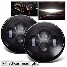 "2pcs 7"" LED Headlight Front Driving Running Light For Wrangler JK TJ LJ H4 12V Hi-lo Beam Headlamp Car Styling Head Light"