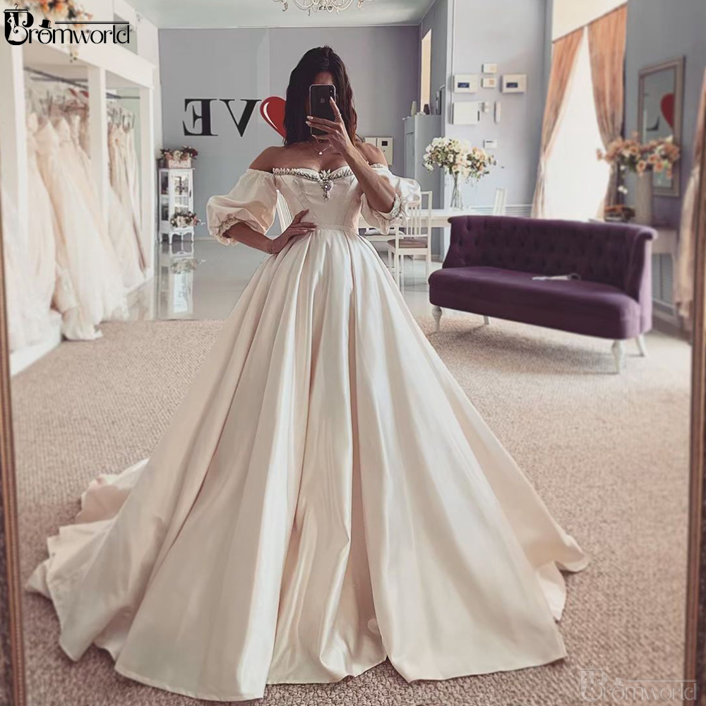 Vestido De Novia	Boho Wedding Dress Sweetheart Off The Shoulder Satin Ball Gown Wedding Dresses 2019 Bride Dress