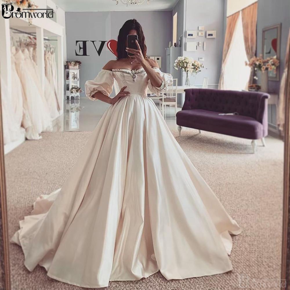 Vestido De NoviaBoho Wedding Dress Sweetheart Off The Shoulder Satin Ball Gown Wedding Dresses 2019 Bride Dress
