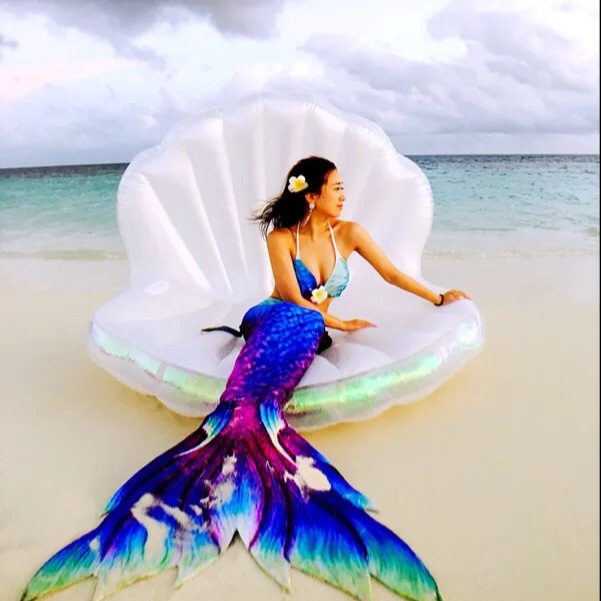 New Adults Giant Pool Float Shell Pearl Scallops Inflatable Funny Aquatic Toys Air Mattress Swim Life Buoy For Bikini 1.7*1.3M giant pool float shells inflatable in water floating row pearl ball scallop aqua loungers floating air mattress donuts swim ring