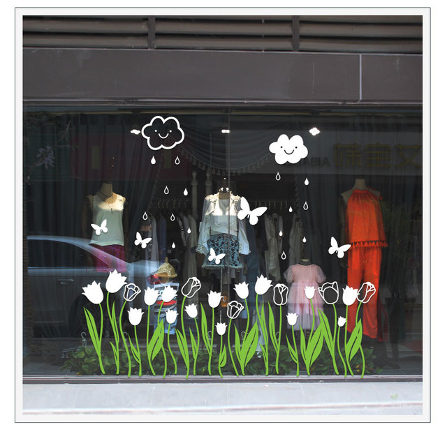 Tulip flower window film romantic warm decoration wall stickers shop shops window glass decals skirting corner