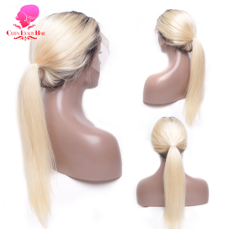 QUEEN Remy Long 1B 613 Ombre Blonde Brazilian Straight Lace Front Wig Human Hair 1B613 Platinum