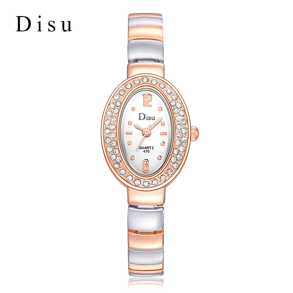 DISU Top Brand Luxury Watch Women Bracelet Dress Clock Fashion Rose Silver Simple Oval Crystal Sport Wrist Watch Quartz Watches лак для ногтей cnd vinylux weekly polish 7 days craft culture collection 223 цвет 223 brick knit variant hex name b11e14