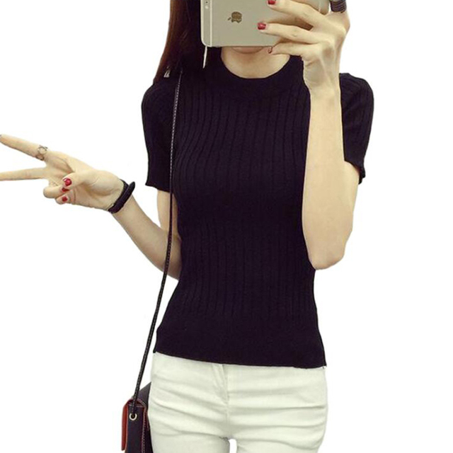 Women Fashion Sweater 2018 High Elastic Winter Green Red Black Tops Women Knitted Pullovers Short Sleeve Shirt Female Clothes 1