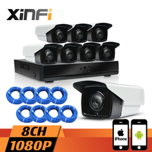 XINFI 8CH HD CCTV System with 8ch HDMI 1080P NVR Network Video Recorder 8pcs 1080P HD 2.0MP Security IP Camera System CCTV kit