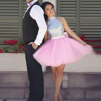SoDigne Short Prom Dress For Graduation High Neck A Line Sequined Pink And Silver Cute Girl