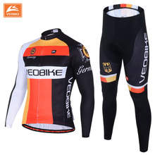 VEOBIKE German Pro team Men's Cycling MTB Road Bike Bicycle Long Sleeve Sports Jersey ADD Set Gel Quick Dry Breathable Clothing