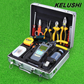 KELUSHI 30 in 1 Fiber Optic FTTH Tool Kit with Fiber Cleaver HS-30 Optical Power Meter 10mW  Visual Fault Locator cable tester