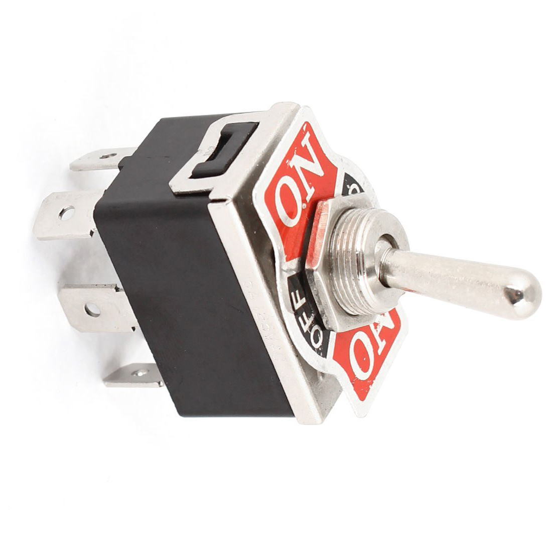 Promotion! AC 250V/10A 125V/15A DPDT 3 Position ON/OFF/ON 6 Pins Toggle Switch Black+Silver 1 pc new red 9 pin on off on 3 position mini toggle switch ac 6a 125v 3a 250v ve521 p