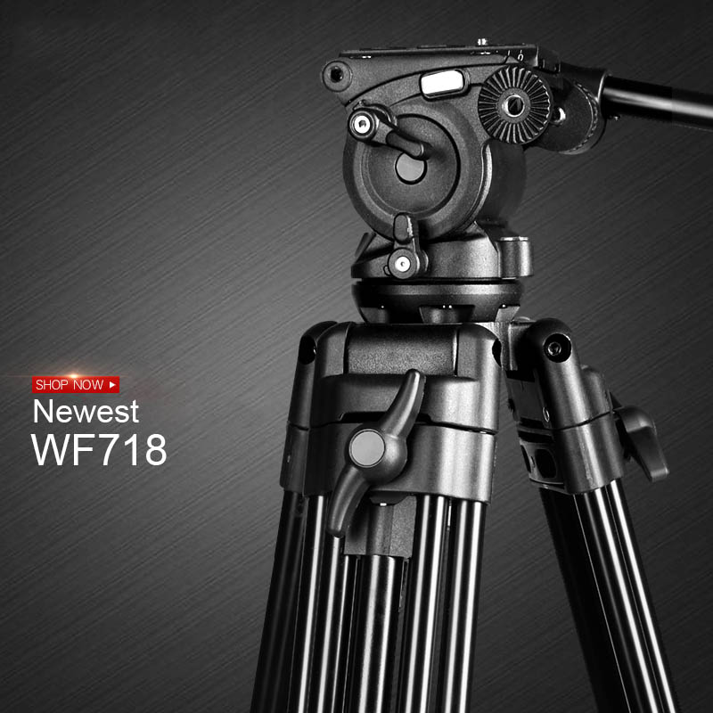 New WF718 Professional Video Tripod DSLR Camera Heavy Duty Tripod with Fluid Pan Head for Canon Nikon Sony Camera Camcorder DV puluz heavy duty video camera tripod action fluid drag head with sliding plate for dslr