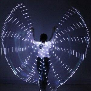 Image 3 - 2018 المرأة مصباح ليد إيزيس أجنحة البطن أزياء رقص 360 المصرية المرحلة أداء جديد وصول DJ LED أجنحة مع العصي