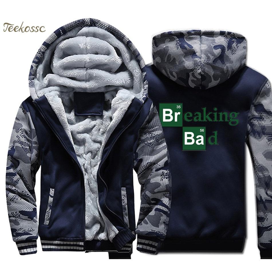 Breaking Bad Hoodie Men Heisenberg Hooded Sweatshirt Print Coat Winter Winter Thick Fleece Zip up Jacket Hip Hop Sportswear 4XL