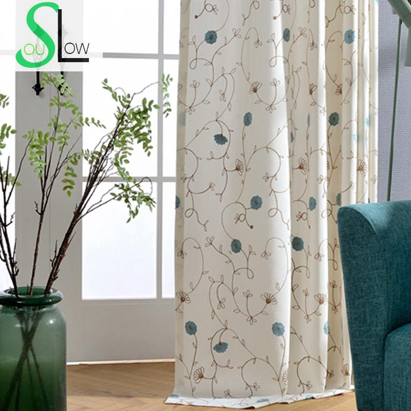Slow Soul Light Red Blue French Window Embroidered Floral Curtains For Living  Room Curtain Kitchen Bedroom Roman Baby Luxury In Curtains From Home U0026  Garden ... Part 33
