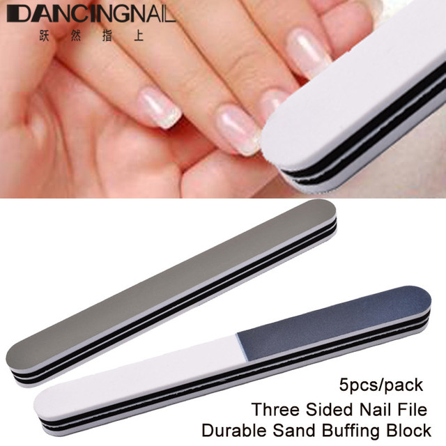 5pcs Three Sided Nail File 1320 400 3000 Trimmer Buffer Block Durable Beauty