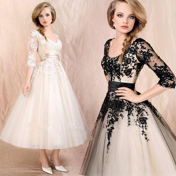 Sho-me vente chaude livraison gratuite col en v longueur de thé avec manches 2017 nouvelle robe de demoiselle d'honneur dentelle