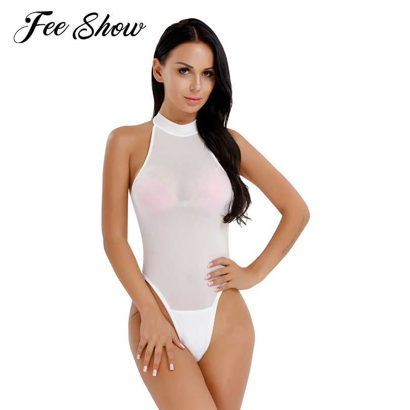 f5e781e7eac81 2017 Sexy Women Lingerie Sleeveless Mock Neck High Cut Open Butt Crotchless Thong  Leotard Body Suits