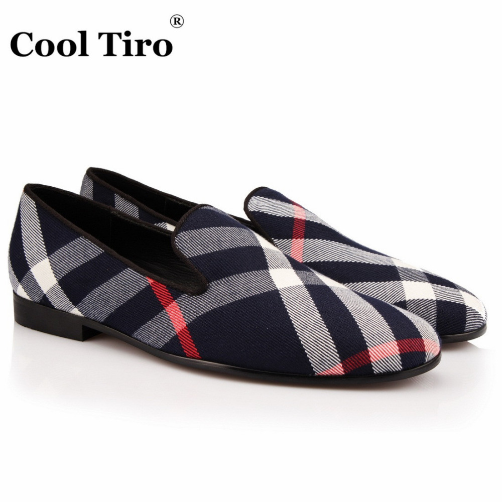 COOL TIRO High quality Handmade loafers casual Fashion Gingham Slip-on flats smoking slipper Dress men Party Wedding shoes