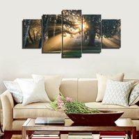 Arte de la pared Del Bosque Verde Árboles de Niebla Por La Mañana de Primavera Paisaje Poster impresión Giclee Sobre Lienzo De Arte Para Decoración de La Pared Decoración Para El Hogar regalo