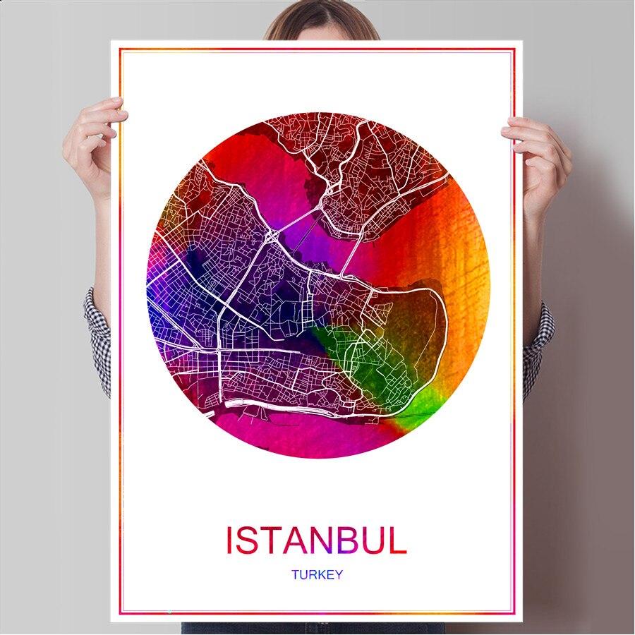Abstrakte World City Karte ISTANBUL Trkei Druck Plakat Auf Papier Oder Leinwand Wandaufkleber Bar