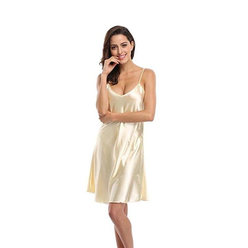 Sexy Mini Lady Spaghetti Strap Nightgown Sleepshirt Women's Satin Nightshirts Camisole Nightgown Chemises Slip Sleepwear