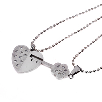 New Fashion Cute Lover' Stainless Steel Necklace Heart And Key Shape Fine Chain Jewelry Open Your Heart Necklace-5
