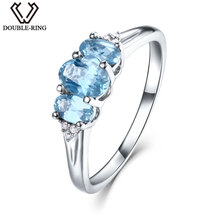 DOUBLE-R 0.83ct Genuine Natural Blue Topaz Ring 100% Real 925 Sterling Silver Rings Fine Wedding Jewelry for Women