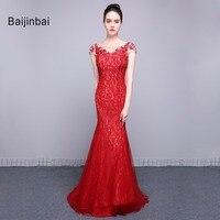 Baijinbai Formalne Kobiety Prom Dresses Piętro Długość 2017 New Arrival Red Aplikacje Robe De Wieczór Cekiny Koraliki Party Dresses79024