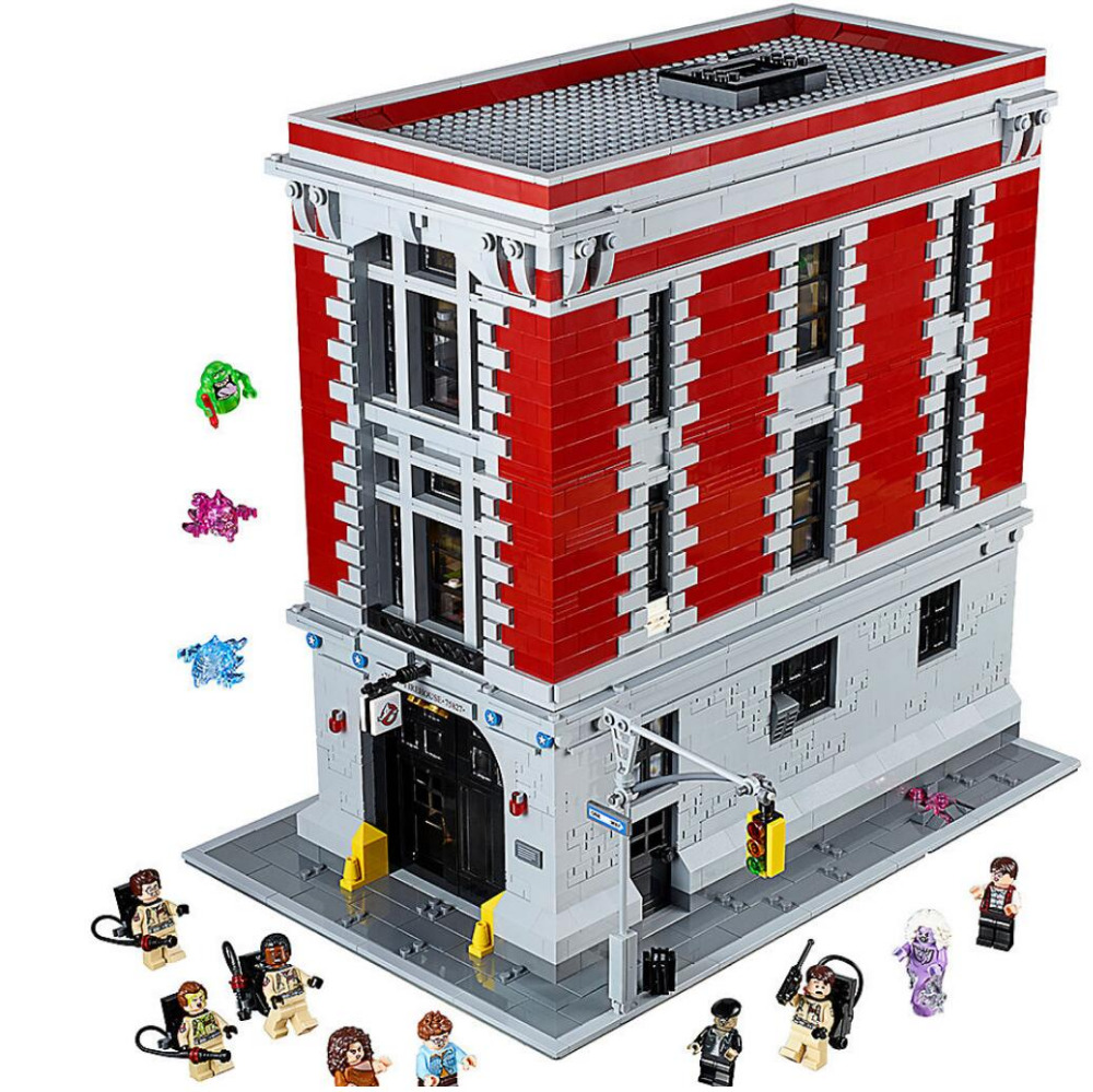 LEPIN 16001 Genuine Ghostbusters Firehouse Headquarters Model legoing Educational Building Kits Model set brinquedos Gifts 75827 4695pcs lepin 16001 city series firehouse headquarters house model building blocks compatible 75827 architecture toy to children