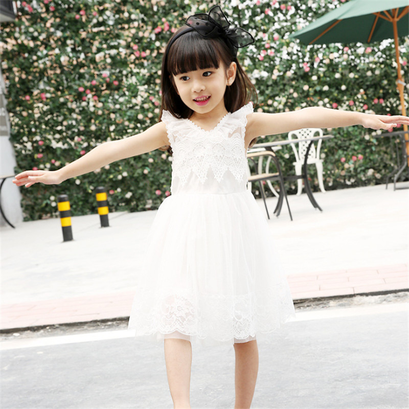 ФОТО 1pc White/Balck Lace Dress For Girls Evening Party Vestidos V-Neck Summer Vestido Dresses Children Kids Clothes 2016 New Fashion