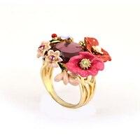 Juicy Grape Winter Garden Series Bohemian Enamel Pink Flower Crystal Ring Prong Stone Ring For Woman European Romantic Jewelry