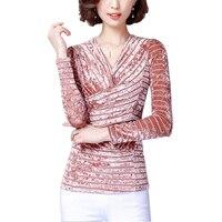 2018 봄 새로운 우아한 플러스 사이즈 5XL 여성 벨벳 탑 셔츠 v 넥 긴 소매 슬림 셔츠 스트라이프 접합 트위스트 섹시한 t 셔츠