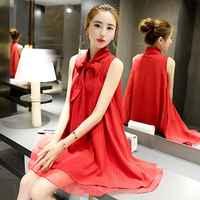 Women Summer Elegant Sleeveless Dress Vintage Round Neck Sweet Bow Dress Solid Red Color Slim Chiffon Dresses