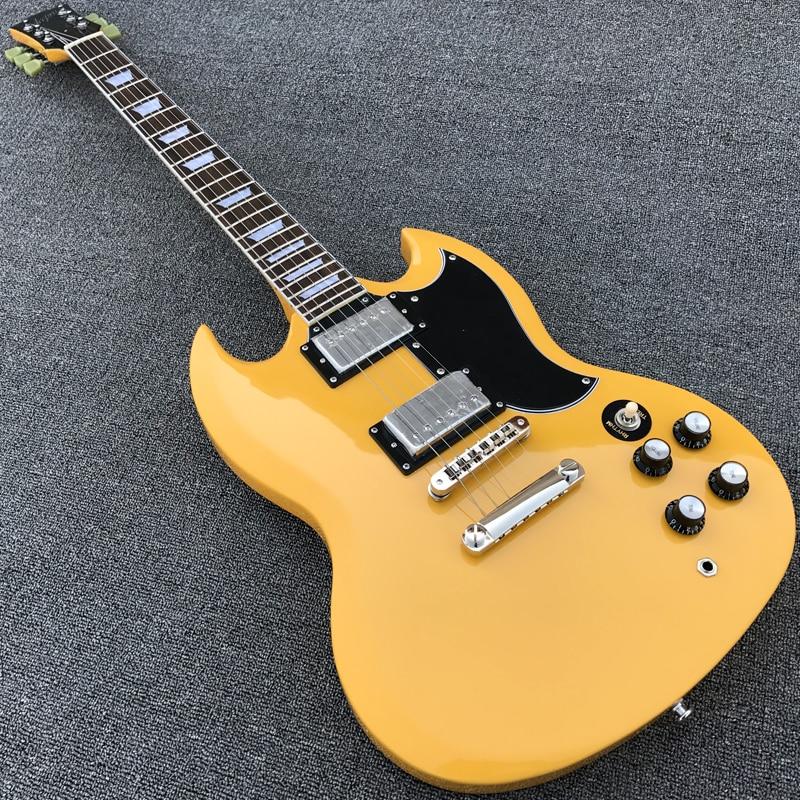 high quality yellow color electric guitar with tonepro bridge solid mahogany guitarra. Black Bedroom Furniture Sets. Home Design Ideas