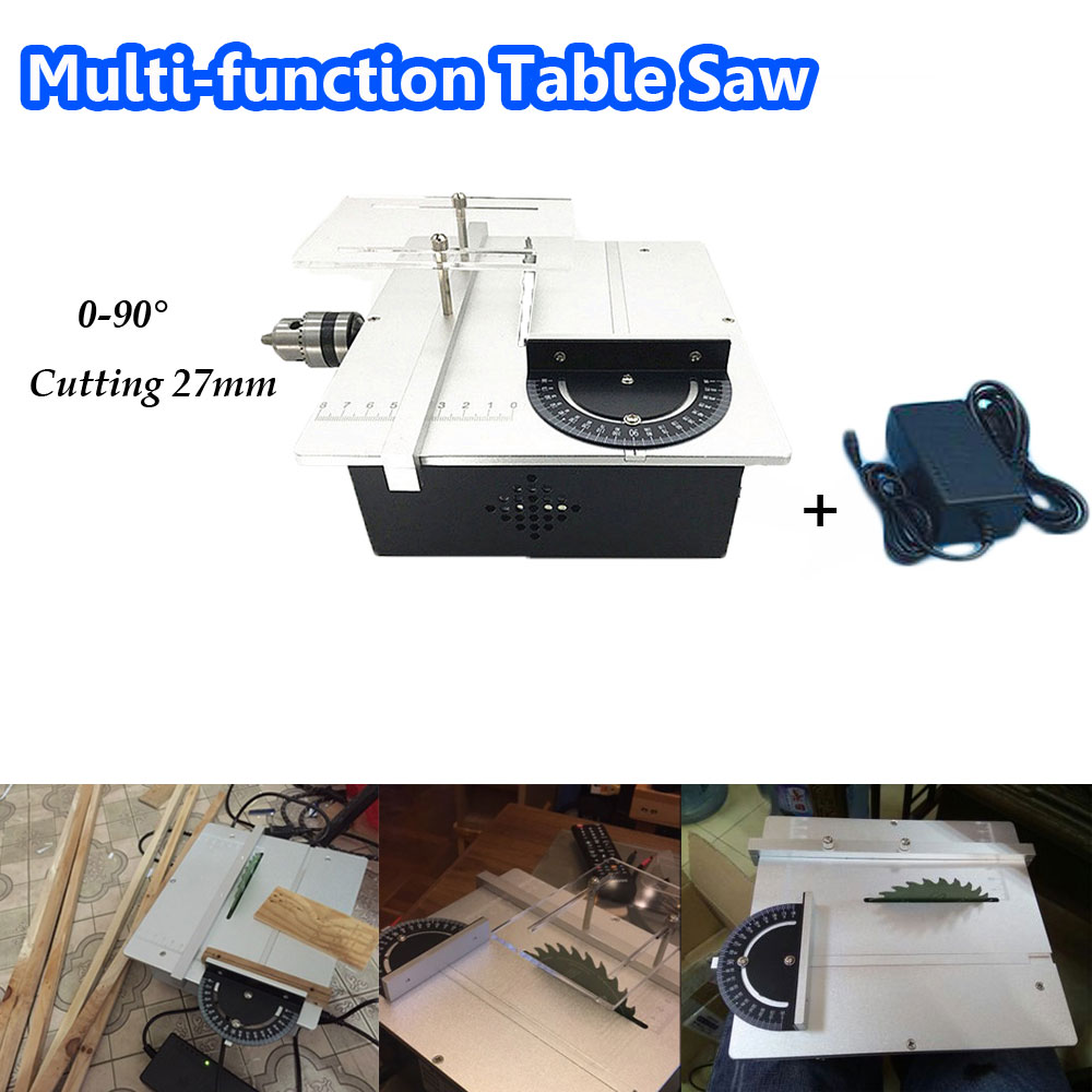 Mini Table Saw Multi-function Woodworking Saw Circular Saw DIY Cutting Machine for Wood PCB mini hobby table saw woodworking bench saw diy handmade model crafts cutting tool with power supply hss 60mm circular saw blade