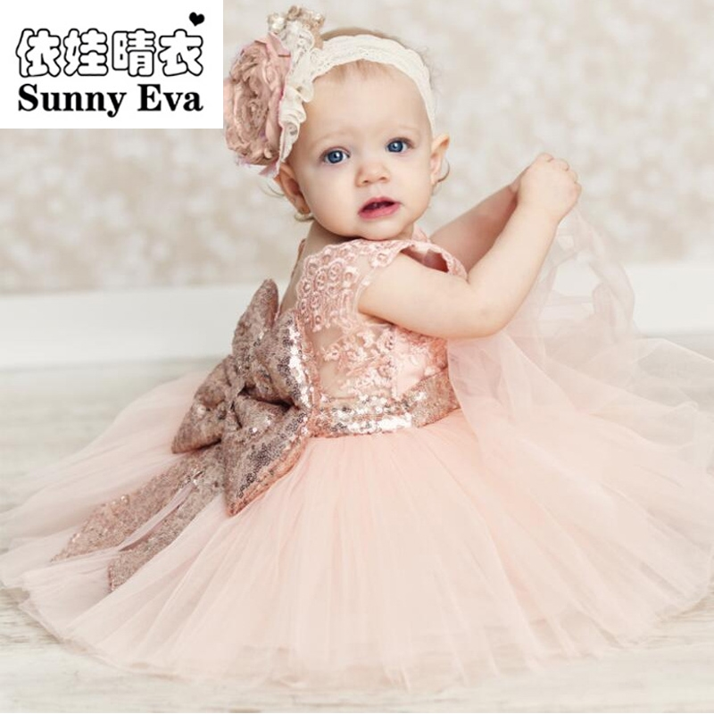 sunny eva christmas princess party dress with big bow back for girls Children knee length patry ball gown kids wedding dresses