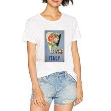 Italia estilo David mujer camiseta Vintage Italia Poster blanco camisetas chica 100% algodón verano camisa señora estética Hipster camisetas