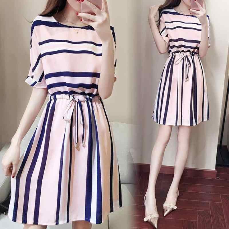9db6d08c021f7 2019 новые летние модные женские платья со шнуровкой на талии тонкое платье  Chfiion Полосатое мини-