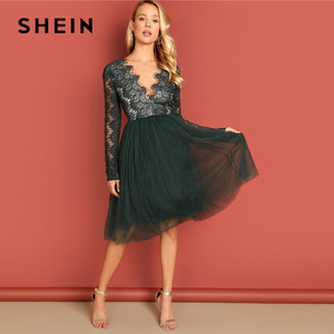 Image 4 - Shein 녹색 깊은 v 목 레이스 드레스 긴 소매 높은 허리 투명 가을 섹시한 파티 밤 우아한 여성 드레스