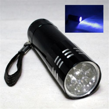10pcs Super Mini Aluminum UV Ultra Violet 9 Led Flashlight Blacklight Torch Light Lamp Lightweight Aluminum Case Dropshipping