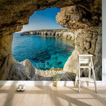 3D Mural Wallpaper Home Decor Background Photography Natural Cave Marvel Coast Landscape Wall paper Mural for Living Room(China)