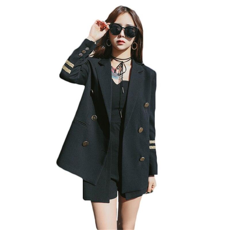 2018 printemps automne nouveau coréen à la mode marine Blazer femmes broderie costume vestes femme grande taille noir Blazers manteaux Z396