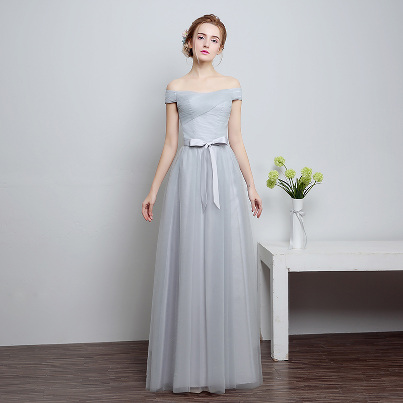 ruthshen 2018 New Bridesmaid Dresses Long Off Shoulder Pleated Pink    Silver Tulle Brides Maid Wedding Party Dress Cheap-in Bridesmaid Dresses  from Weddings ... 9aa98a7f8127