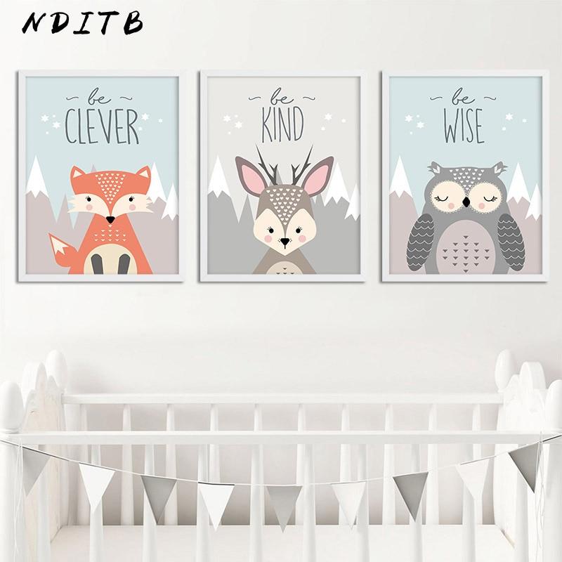 NDITB יער בעלי החיים ינשוף צבי כרזות משתלת קיר הדפסי אמנות בד ציור נורדי תמונה עבור תינוק סלון קישוט