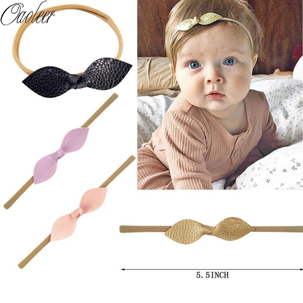 10pcs/lot Nylon Headbands Top Knot Bow Headband Leather knot bows Headbands Girls Hair Accessories
